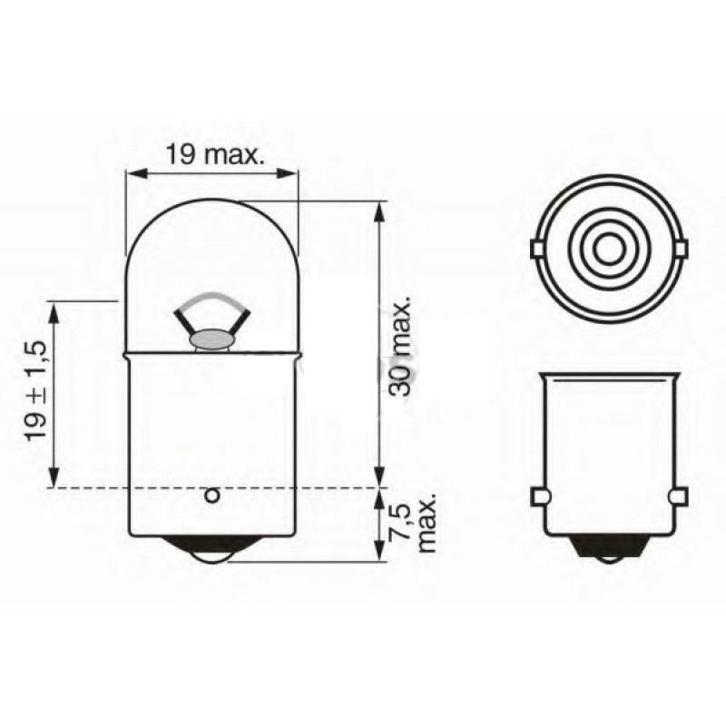 Автомобильная лампа Philips R10W, (12814CP)