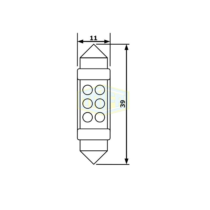 Лампа автомобильная TRIFA 12V 40mA SV8.5-8 Led White